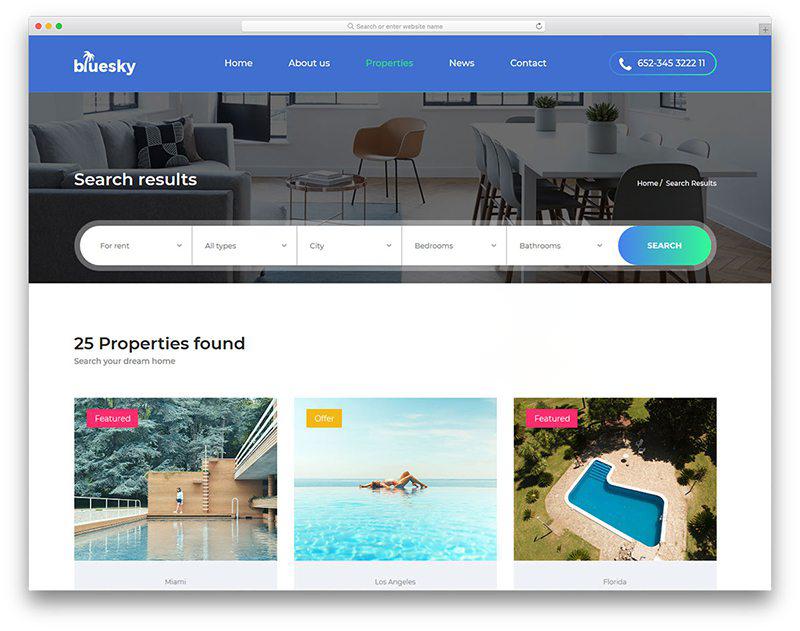 Mẫu website bất động sản Free – Bluesky