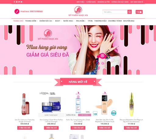 Trang chủ website mỹ phẩm