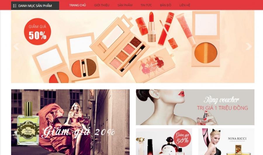 Trang sản phẩm website mỹ phẩm