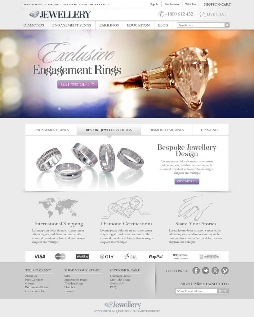 Mẫu website bán vàng bạc đá quý 01